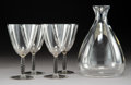 Glass, R. Lalique Dornach Enameled and Clear Glass Goblets and Decanter, circa 1927. Marks: R. Lalique, France. 5-5... (Total: 5 Items)