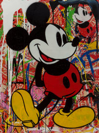 Mr. Brainwash (b. 1966) Mickey Mouse, 2014 Collage with silkscreen and acrylic on paper 30 x 22-1
