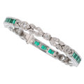 Estate Jewelry:Bracelets, Diamond, Emerald, White Gold Bracelet. ...