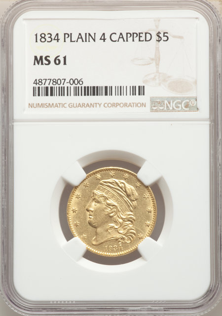 1834 $5 with Motto, Plain 4, MS 61 NGC