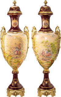 A Pair of Monumental Sèvres-Style Gilt Bronze-Mounted Porcelain Urns, circa 1900 Signed: E. Rouly 6