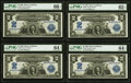Large Size:Silver Certificates, Fr. 255 $2 1899 Silver Certificate PMG Gem Uncirculated 66 EPQ, Gem Uncirculated 65 EPQ, Choice Uncirculated 64 EPQ (2) Cut Sh... (Total: 4 notes)