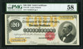 Large Size:Gold Certificates, Fr. 1178 $20 1882 Gold Certificate PMG Choice About Uncirculated 58.. ...