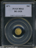 California Fractional Gold: , 1871 50C Liberty Round 50 Cents, BG-1028, High R.6, MS62 PCGS. ...
