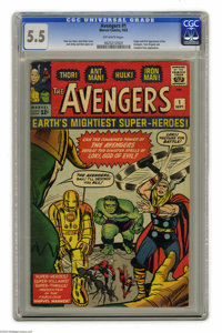 Avengers #1 (Marvel, 1963) CGC FN- 5.5 Off-white pages. This is the issue that started it all for Earth's Mightiest Supe...