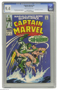 Captain Marvel #4 (Marvel, 1968) CGC NM 9.4 Cream to off-white pages. Sub-Mariner appearance. Gene Colan cover and art...