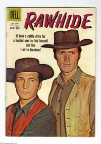 Four Color #1028 (Dell, 1959) Condition: VG/FN. Featuring Rawhide (#1). Clint Eastwood photo cover. Warren Tufts art. Ov...