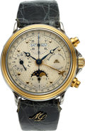 Timepieces:Wristwatch, Maurice Lacroix, Automatic Steel & Gold Triple Calendar Chronograph, 24 Hour Indication. ...