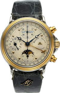 Maurice Lacroix, Automatic Steel & Gold Triple Calendar Chronograph, 24 Hour Indication