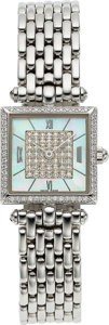 "Timepieces:Wristwatch, Van Cleef & Arpels, Lady's ""Classique"", 18k White Gold and Diamonds, Circa 2006. ..."