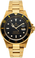 Timepieces:Wristwatch, Rolex, Oyster Perpetual Submariner, Ref. 16618T, 18k Gold, Circa 2002. ...