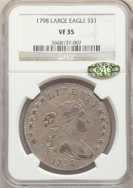 1798 S$1 Large Eagle, Pointed 9 CAC 35 NGC
