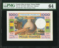 French Afars & Issas Tresor Public, Djibouti 1000 Francs ND (1974) Pick 32 PMG Choice Uncirculated 64