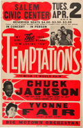 Music Memorabilia:Posters, The Temptations 1968 Jumbo Globe Concert Poster with Four Big Hits Listed...