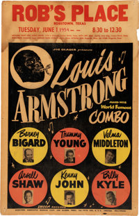 Louis Armstrong 1954 Concert Poster w/His World Famous Combo