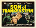 "Movie Posters:Horror, Son of Frankenstein (Universal, 1939). Fine/Very Fine. Title Lobby Card (11"" X 14"").. ..."