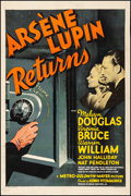 "Movie Posters:Mystery, Arsene Lupin Returns (MGM, 1938). Fine+ on Linen. One Sheet (27.5"" X 41"") Style D. Mystery.. ..."