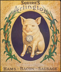 Squire's Arlington: Hams, Bacon, & Sausage (Pandora Productions, 1970). Rolled, Very Fine-. Reproduction Advertising...