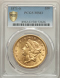 Liberty Double Eagles, 1871-S $20 MS61 PCGS. PCGS Population: (88/34 and 0/2+). NGC Census: (100/36 and 2/3+). CDN: $3,000 Whsle. Bid for problem-...