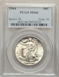 Walking Liberty Half Dollars: , 1944 50C MS66 PCGS. PCGS Population: (1431/128). NGC Census: (925/88). MS66. Mintage 28,206,000. ...