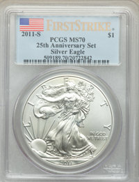 2011-S $1 Silver Eagle, 25th Anniversary, First Strike MS70 PCGS. PCGS Population: (8146). NGC Census: (18380). MS70...