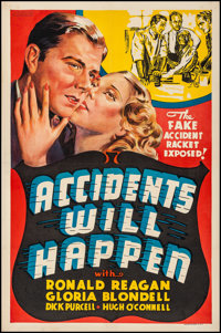 """Accidents Will Happen (Warner Brothers, 1938). Fine/Very Fine on Linen. Other Company One Sheet (27"""" X 41""""). C..."""