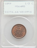 1855 1/2 C MS64 Red and Brown PCGS. PCGS Population: (145/26). NGC Census: (0/0). CDN: $600 Whsle. Bid for problem-free...