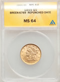 1899 $5 Repunched Date, Breen-6769, MS64 ANACS. CDN: $620 Whsle. Bid for problem-free NGC/PCGS MS64. Mintage 1,710,729...