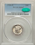 1936-D 10C MS67 PCGS. CAC. PCGS Population: (15/0). NGC Census: (18/0). CDN: $275 Whsle. Bid for problem-free NGC/PCGS M...