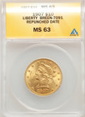 1907 $10 Repunched Date, Breen-7091, MS63 ANACS. Mintage 1,203,973