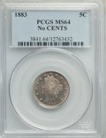 Liberty Nickels: , 1883 5C No Cents MS64 PCGS. PCGS Population: (3703/2243). NGC Census: (2505/2492). CDN: $60 Whsle. Bid for problem-free NGC...