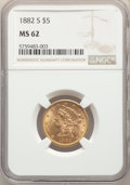 1882-S $5 MS62 NGC. NGC Census: (904/615). PCGS Population: (572/560). MS62. Mintage 969,000. ...(PCGS# 8360)