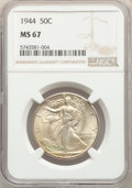 Walking Liberty Half Dollars: , 1944 50C MS67 NGC. NGC Census: (87/2). PCGS Population: (126/2). CDN: $450 Whsle. Bid for problem-free NGC/PCGS MS67. Minta...
