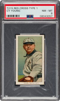 1910-12 T215 Red Cross (Type 1) Cy Young PSA NM-MT 8 - The Best of Two Graded by PSA & SGC Combined!