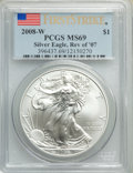 Modern Bullion Coins, 2008-W $1 Silver Eagle, Reverse of 2007, Burnished, First Strike MS69 PCGS. PCGS Population: (1271/203). NGC Census: (3622/...