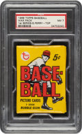 Baseball Cards:Unopened Packs/Display Boxes, 1968 Topps Baseball (1st Series) Wax Pack NM 7 - Gaylord Perry Top Card. ...