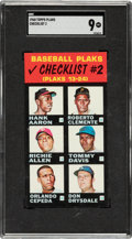 Baseball Cards:Singles (1960-1969), 1968 Topps Test Baseball Plaks Checklist #2 (Aaron, Clemente) SGC Mint 9 - Pop Two, None Higher. ...