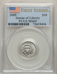 2005 $10 Tenth-Ounce Platinum Eagle, First Strike, MS69 PCGS. PCGS Population: (341/40). NGC Census: (1852/2120). CDN: $...