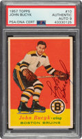 Autographs:Sports Cards, 1957 Topps Johnny Bucyk #10 PSA/DNA Auto Mint 9....