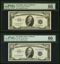 Small Size:Silver Certificates, Fr. 1707 $10 1953A Silver Certificate. PMG Gem Uncirculated 66 EPQ;. Fr. 1708 $10 1953B Silver Certificate. PMG Gem Uncirc... (Total: 2 notes)
