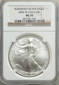Modern Bullion Coins, 2006-W $1 Silver Eagle, Burnished, MS70 NGC. NGC Census: (10575). PCGS Population: (3382). Mintage 466,573....