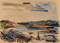 Wayne Thiebaud (b. 1920) Untitled (View of Sausalito), circa 1950s Watercolor on paper 18-1/8 x 24-1/8 inches (46.0 x
