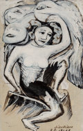 Works on Paper, David Alfaro Siqueiros (1896-1974). Untitled, 1963. Pyroxylin and ink wash on paper. 13-1/4 x 8-1/2 inches (33.7 x 21.6 ...