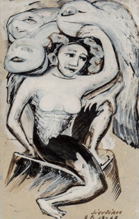 David Alfaro Siqueiros (1896-1974) Untitled, 1963 Pyroxylin and ink wash on paper 13-1/4 x 8-1/2
