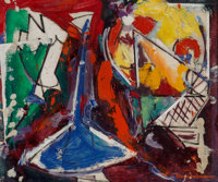 Hans Hofmann (1880-1966) Untitled (double-sided work), circa 1946 (recto); circa 1952 (verso) Oil on board 13-3/4 x 1
