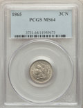 1865 3CN MS64 PCGS. PCGS Population: (668/198). NGC Census: (560/164). MS64. Mintage 11,382,000