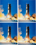Explorers:Space Exploration, Buzz Aldrin Signed Large Apollo 11 Launch Color Photos (Four) Originally from His Personal Collection. ...