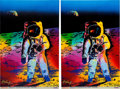 "Explorers:Space Exploration, Buzz Aldrin and Peter Max Signed Peter Max ""Apollo 11 - Walking on the Moon 1969/1999"" Large Prints (Two) Originally from Aldr... (Total: 2 Items)"