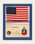 Explorers:Space Exploration, Space Shuttle Columbia (STS-1) Flown Large American Flag and Embroidered Mission Insignia Patch as Presented to Ed...