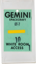 Explorers:Space Exploration, Gemini 7: James Lovell's White Room Access Badge Directly from His Personal Collection, with Signed Letter of Certificatio...
